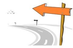 Деревянный столб знака стрелки, левая дорога кривой, иллюстрация вектора Стоковое Фото