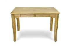 Деревянный стол изолированный на белой предпосылке, пути клиппирования Стоковые Изображения RF