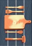 Деревянный столовый прибор, вилка, ложка, разделочная доска, иллюстрация вектора Стоковое фото RF