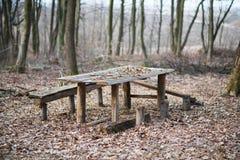 Деревянный стол с стендами в древесинах Стоковые Фото