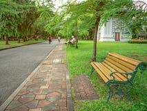 Деревянный стул в зеленом парке и люди ослабляют в парке стоковое фото