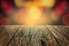 Деревянный с сценой bokeh светов Стоковые Изображения