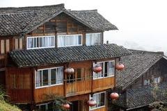 Деревянный тип дом Miao традиции Longji mt Стоковая Фотография RF