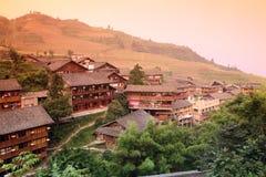 Деревянный тип дом Miao традиции Longji mt Стоковые Фотографии RF