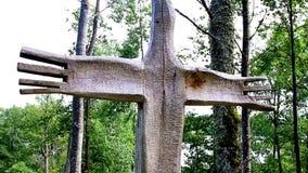 Деревянный тотем в лесе видеоматериал