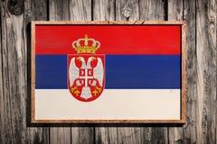 Деревянный флаг Сербии Стоковое Изображение