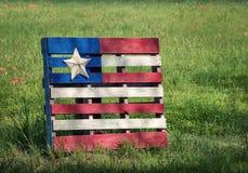 Деревянный флаг паллета с звездой Техаса стоковое фото rf
