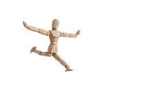 Деревянный человек куклы выполняет танец и гибкость Стоковые Изображения RF
