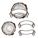 Деревянный шаблон логотипа работы стоковое изображение rf