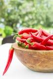 Деревянный шар горячего красного перца chili (чилей) Стоковое Изображение