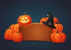 Деревянный шильдик с усмехаясь тыквой хеллоуина, шляпой ведьмы и кучей тыкв иллюстрация вектора