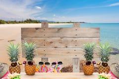 Деревянный шильдик на тропическом пляже для предпосылки лета Стоковая Фотография