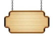 Деревянный шильдик на цепи Стоковое Фото