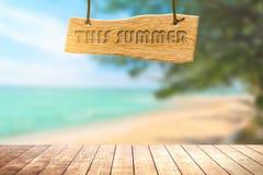 Деревянный шильдик с красивым морем песка в лете стоковая фотография rf