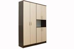 Деревянный шкаф на белизне Стоковое Изображение