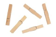Деревянный штырь одежд изолированный на белой предпосылке Стоковое фото RF