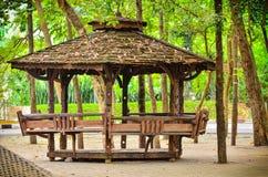 Деревянный Gazebo сада Стоковая Фотография