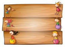 Деревянный signage с играть детей иллюстрация вектора