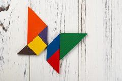 Деревянный tangram в форме бабочки Стоковая Фотография RF