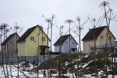 4 деревянных дома среди цветков Стоковое фото RF