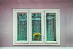 3 деревянных окна с зелеными стеклами Стоковое Изображение RF