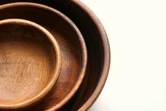 3 деревянных пустых шара еды штабелированного na górze одина другого Стоковые Изображения