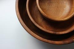 3 деревянных пустых шара еды штабелированного na górze одина другого Стоковое Фото