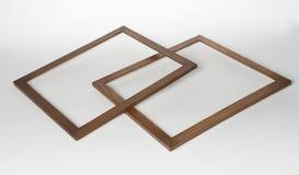 2 деревянных рамки фото на белой предпосылке Стоковая Фотография
