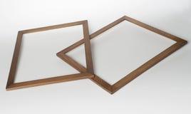 2 деревянных рамки фото на белой предпосылке Стоковое Изображение