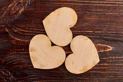 3 деревянных сердца, взгляд сверху Стоковое Фото