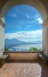 Держатель Vesuvius и залив Неапол, Италии стоковое фото