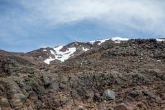 Держатель Ruapehu с снегом покрыл ландшафт крышки в лете, национальном парке Tongariro Стоковое Изображение RF