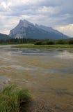 Держатель Rundle и Vermilion озера вертикальные стоковые фото
