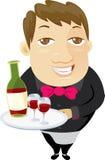 держать красное вино кельнера подноса Стоковое Изображение RF