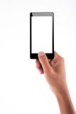 Держать мобильный телефон Мобильный телефон Стоковые Изображения