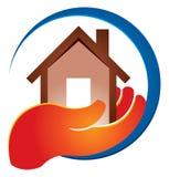 Держать домашний логотип иллюстрация штока