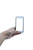 Держать передвижной умный экран касания телефона на белой предпосылке, inc стоковые фото