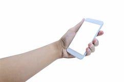 Держать передвижной умный экран касания телефона на белой предпосылке, inc стоковые фотографии rf