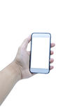 Держать передвижной умный экран касания телефона на белой предпосылке, inc стоковая фотография rf