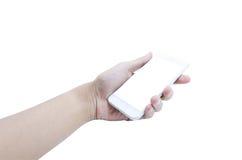 Держать передвижной умный экран касания телефона на белой предпосылке, inc стоковое изображение rf