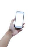 Держать передвижной умный экран касания телефона на белой предпосылке, inc стоковые изображения