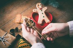 Держать рук cgilden ключ рождества Стоковые Изображения RF