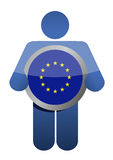 Держать флаг Европейского союза иллюстрация штока