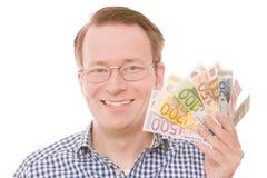 Держащ все банкноты евро (версия стекел) Стоковая Фотография