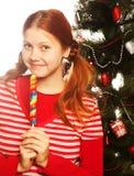 держащ изолированную женщину шипучки lolly довольно белую молодой рождество моя версия вектора вала портфолио Стоковое Изображение