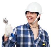 держащ сь работника гаечного ключа молодым Стоковое Фото