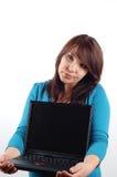 держа женщина компьтер-книжки 9 стоковое фото