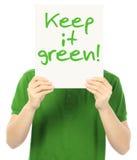 Держите его зеленый стоковые фото