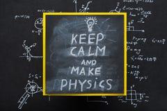 Держите затишье для того чтобы сделать исследование науки сообщения физики стоковое изображение rf