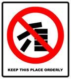 Держите это место чистый и аккуратный знак иллюстрация изолированная на белизне Красный значок запрета Предупреждающий символ бесплатная иллюстрация